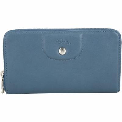 LONGCHAMP Le Pliage Cuir 羊皮銀釦圓弧車縫拉鍊長夾(機師藍)
