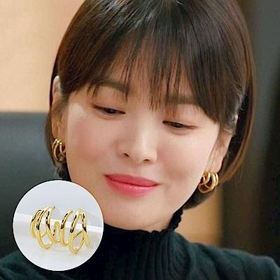 梨花HANA 韓國925銀男朋友宋慧喬多層圈光耳環