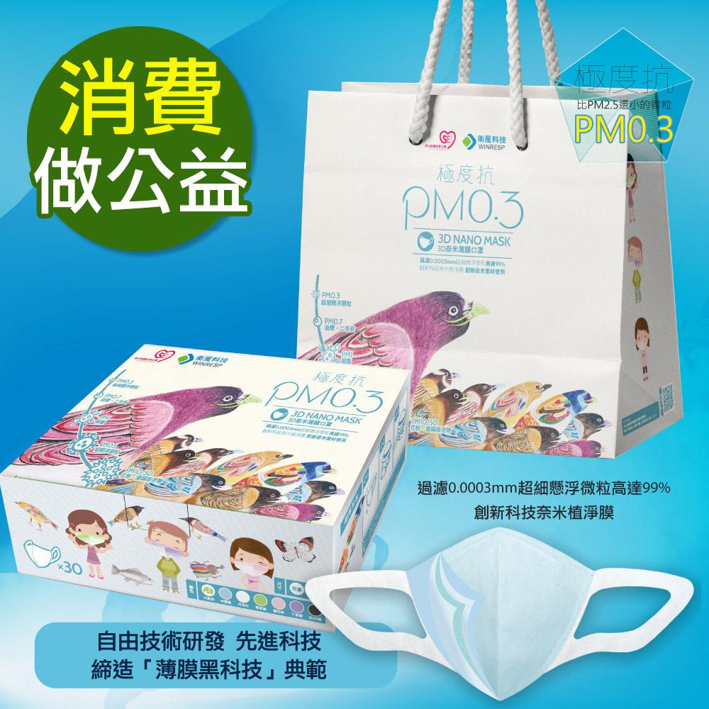 衛風-公益PM0.3奈米薄膜口罩禮盒-素色款(公益禮盒-藍-30入)