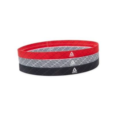 Reebok 運動髮帶三件組(黑、紅、灰)