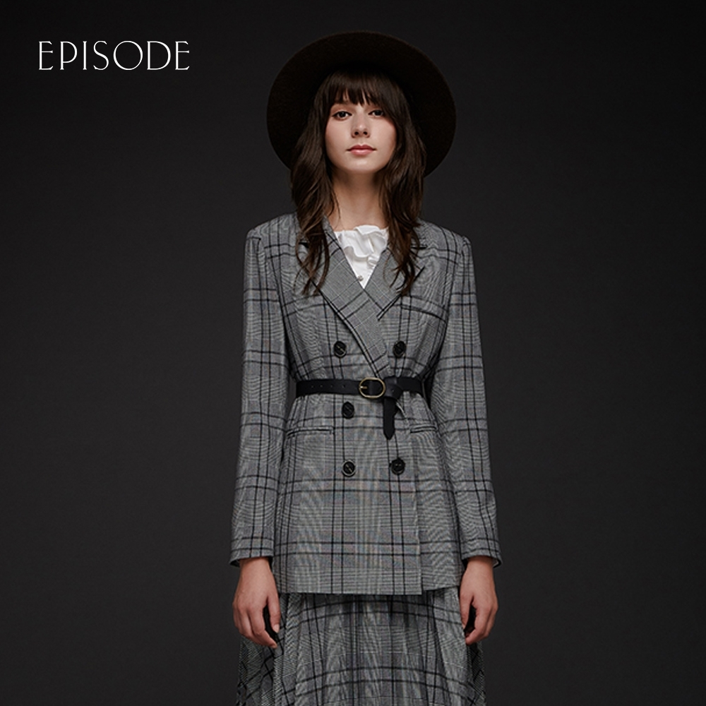 EPISODE - 雙排扣休閒格紋西裝外套