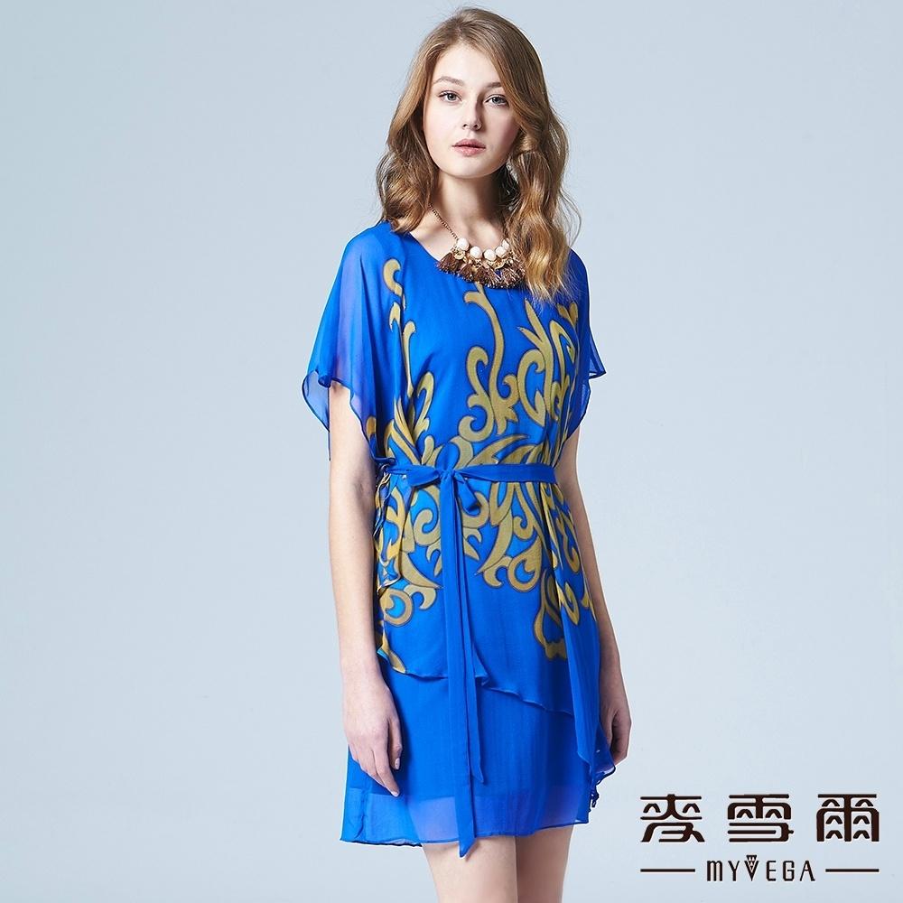 麥雪爾 圓領印花綁帶層次感蠶絲短洋裝