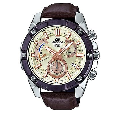 EDIFICE粗曠質感搶眼大錶框真皮腕錶(EFR-559BL-7)咖非X香檳金面49.5
