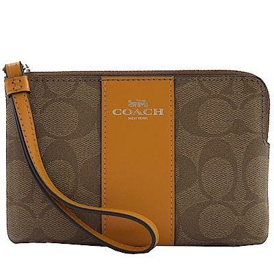 COACH燙印LOGO皮革條紋pvc經典手拿包(橘黃)