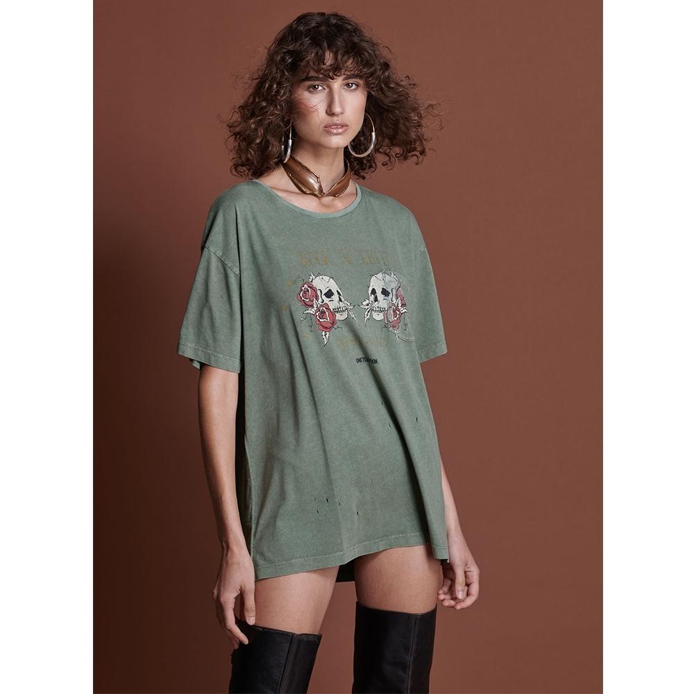 ONETEASPOON  T恤 KHAKI ROCK N ROLL-(女)