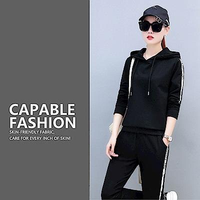 【KISSDIAMOND】韓版立體邊條顯瘦運動套裝黑色