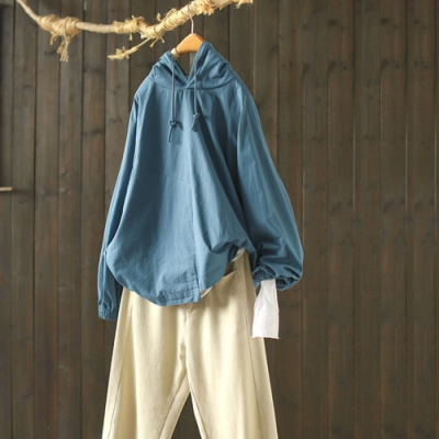 純棉連帽衛衣寬鬆薄版上衣外套-設計所在