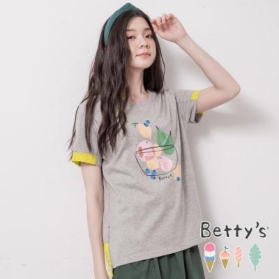 betty's貝蒂思 圓領水果印花配色T-shirt(淺灰)