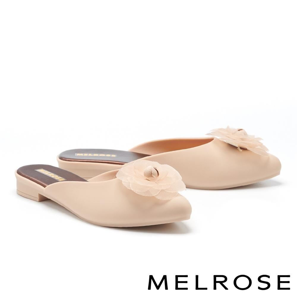 穆勒鞋 MELROSE 氣質典雅網紗山茶花造型防水穆勒低跟拖鞋-米