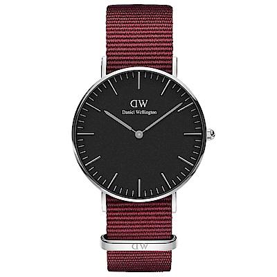 DW手錶 官方旗艦店 36mm銀框 Classic 玫瑰紅尼龍帆布手錶
