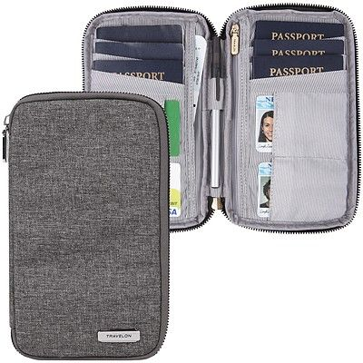 《TRAVELON》多功能旅遊護照包(灰)
