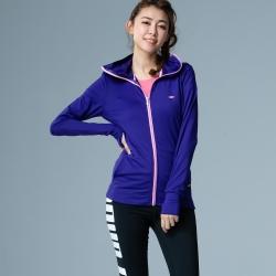 【LACHELN】女款全面防曬口罩式快乾透氣連帽針織外套-藍紫色(L81W506)