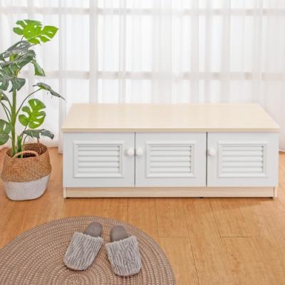 Birdie南亞塑鋼-4尺三開門防水塑鋼坐式百葉鞋櫃/座鞋櫃/收納穿鞋椅(白橡色+白色)-121x37x45cm