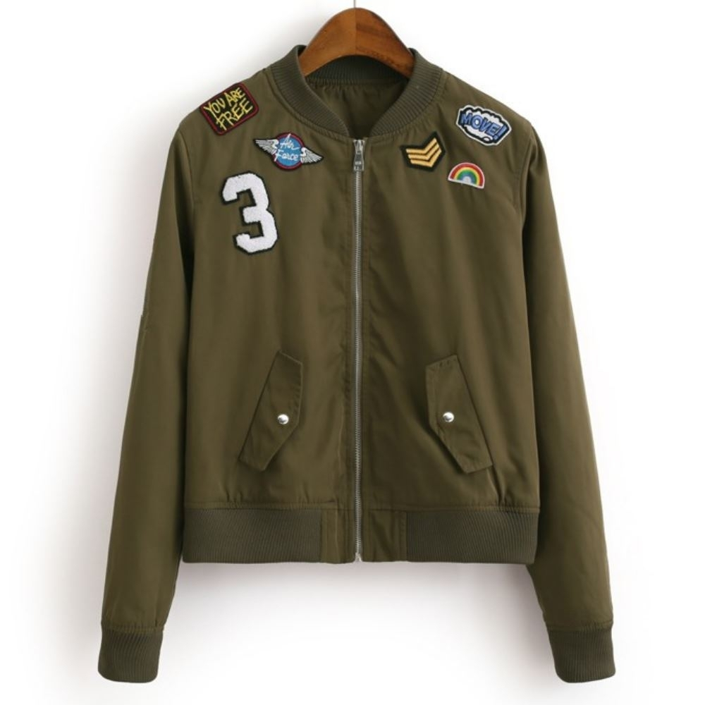MOCO各種徽章星星繡線貼布飛行夾克拉鍊短版外套M~XL
