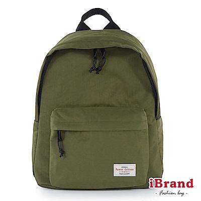 iBrand後背包 簡約素色帆布口袋後背包-墨綠色
