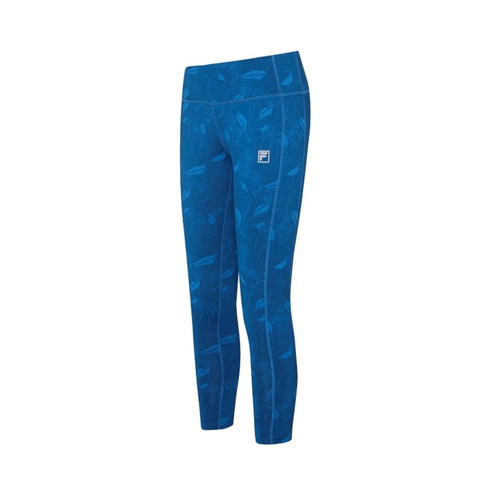 FILA 女萊卡吸濕排汗合身長褲-藍色 5PNV-1605-BU