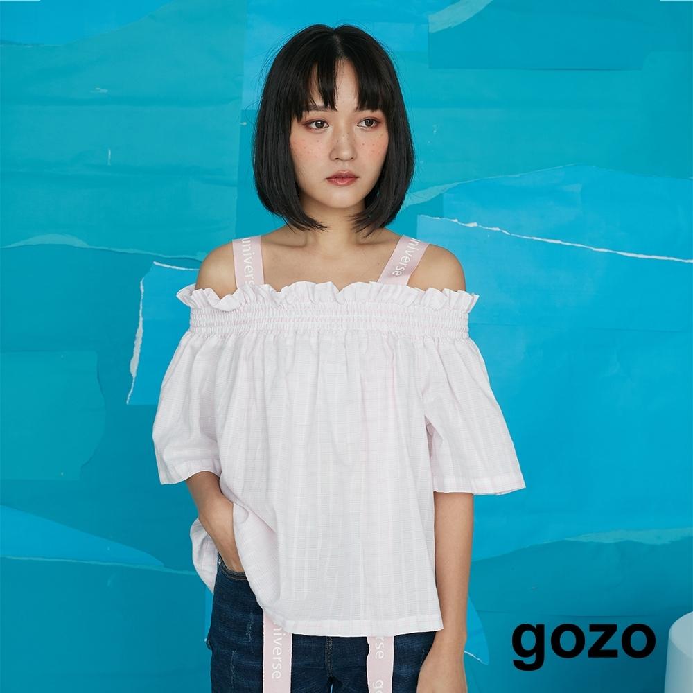 gozo-織帶吊帶平領上衣