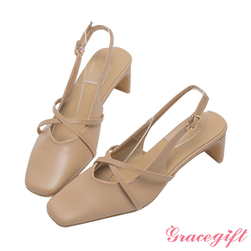 Grace gift-交叉細帶後空扁跟鞋 杏