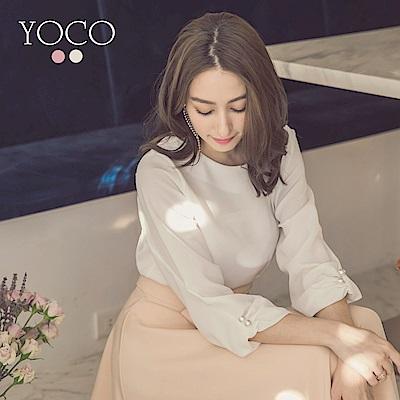 東京著衣-yoco 輕甜美人圓領珍珠雪紡上衣-S.M.L(共二色)