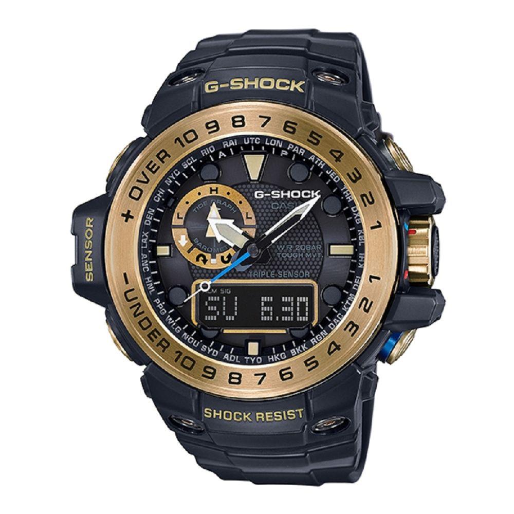 G-SHOC全方位新配備潮汐海洋運動概念電波錶(GWN-1000GB-1A)-黑金/45mm