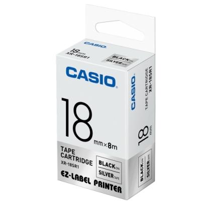 CASIO 標籤機專用色帶-18mm【共有9色】銀底黑字XR-18SR1