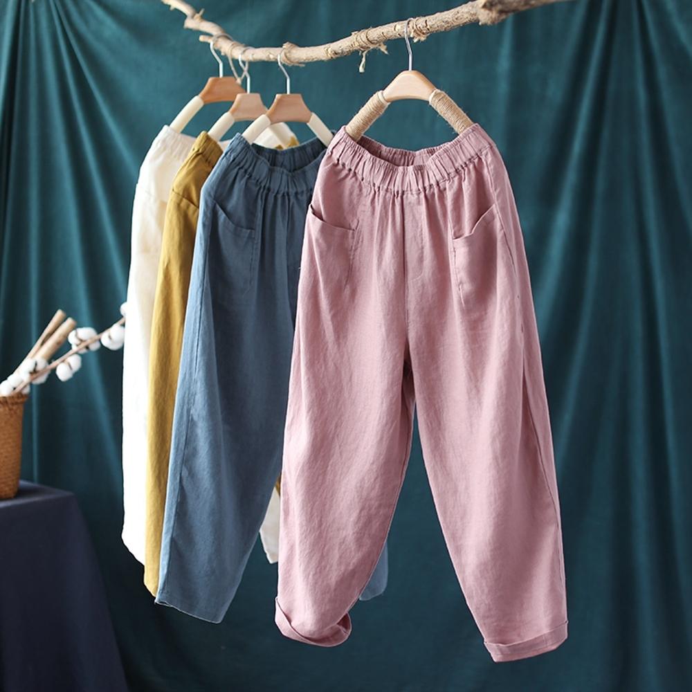 百搭顯瘦復古麻質寬鬆九分哈倫褲子多色-設計所在