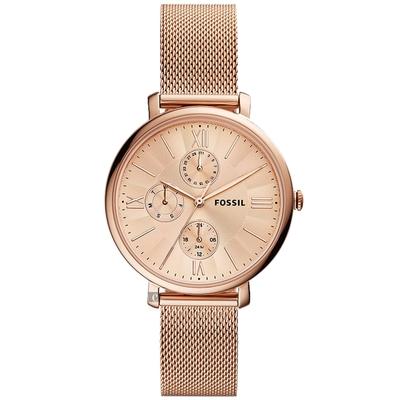 FOSSIL Jacqueline 多功能時尚米蘭帶女錶-玫瑰金 ES5098