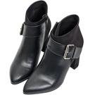 AIR SPACE 金屬釦絨布拼接皮革尖頭高跟踝靴(黑)