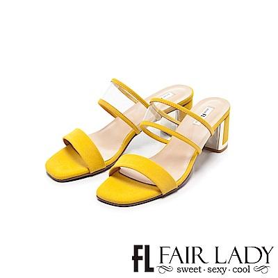 Fair Lady 透明寬帶ㄧ字粗跟涼鞋 黃