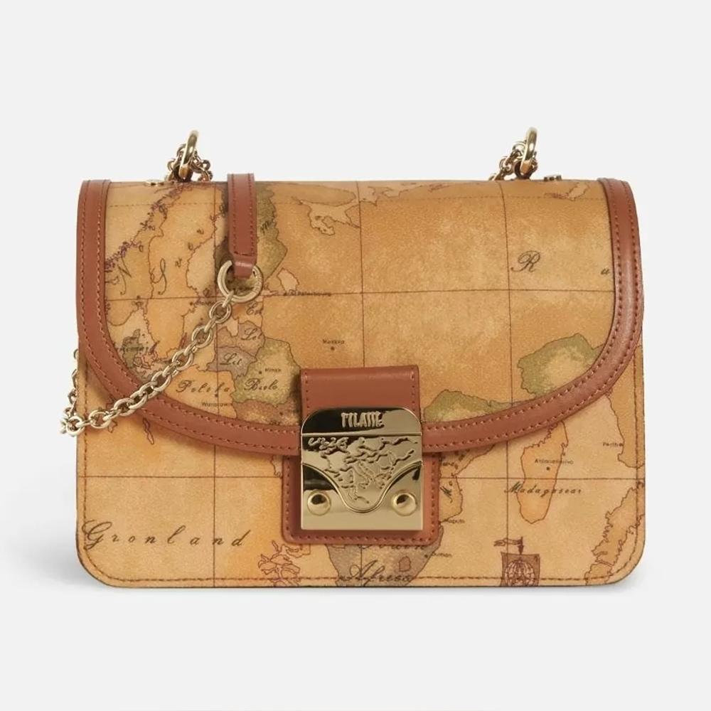 Alviero Martini 義大利地圖包 金屬鎖釦鍊條包-地圖黃
