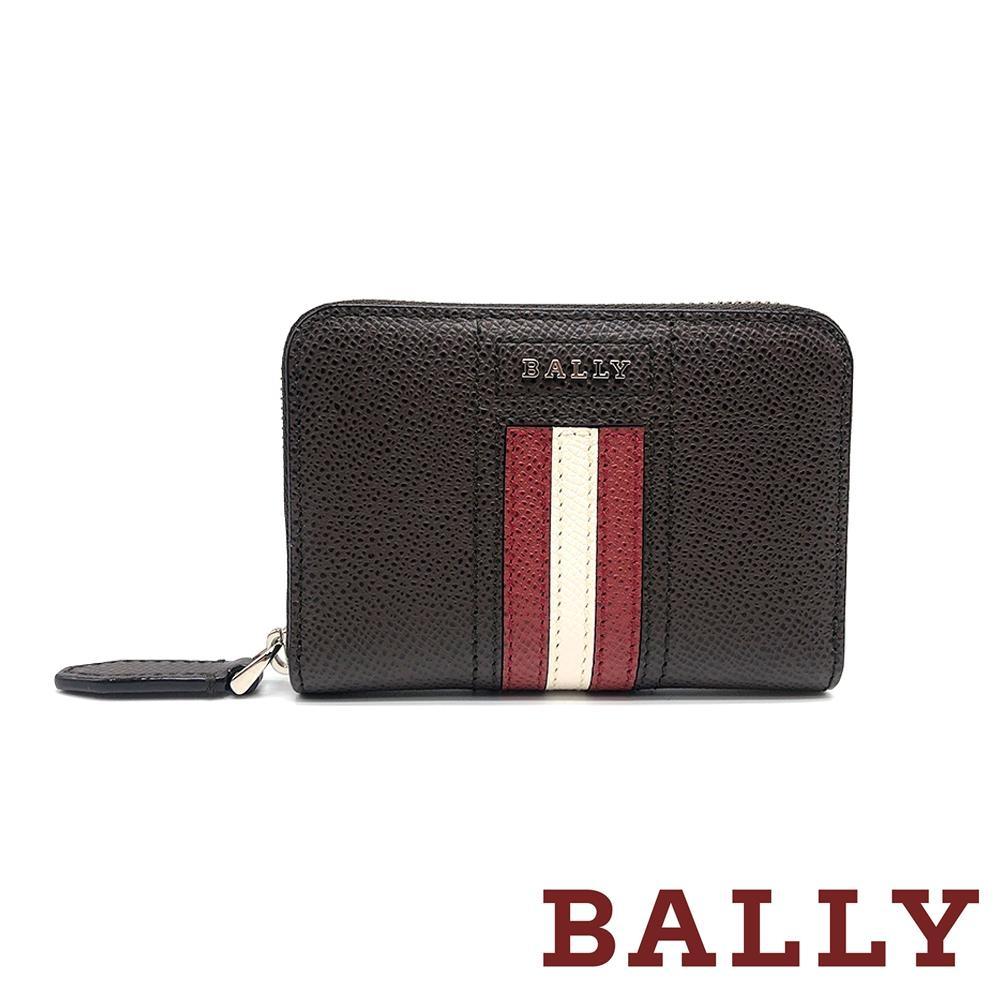 [時時樂限定] BALLY TIVY 荔枝牛皮條紋零錢包短夾-咖