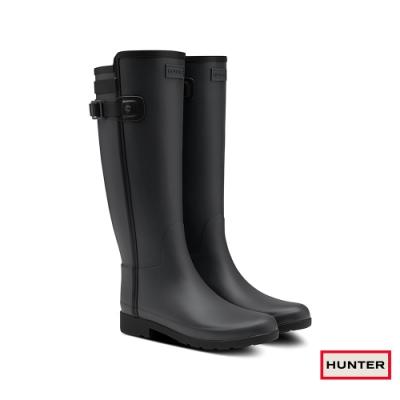 HUNTER - 女鞋 - Refined撞色拼接霧面長靴 - 黑
