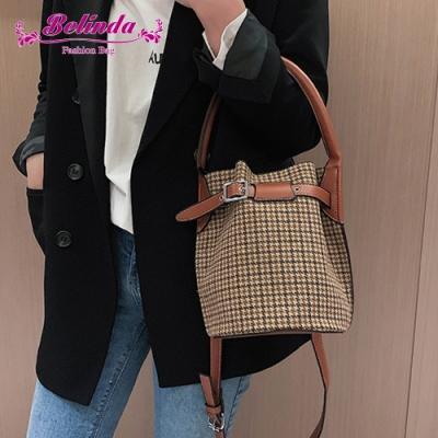 【Belinda】奧爾納千鳥紋皮帶手提側背水桶包(棕色)