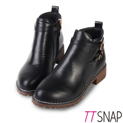 TTSNAP短靴-酷炫大方造型側拉鍊中跟踝靴 黑