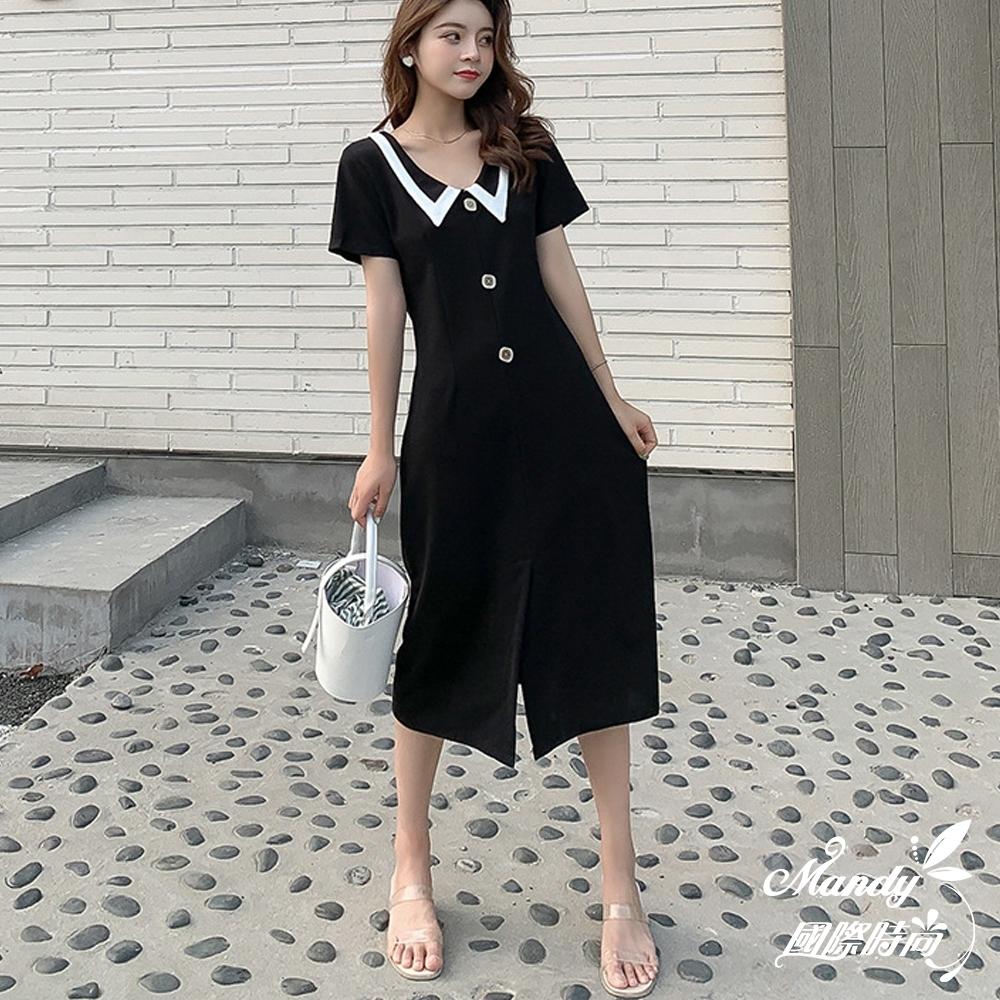 Mandy國際時尚 短袖洋裝 小香風翻領修身顯瘦連身洋裝 _預購【韓國服飾】