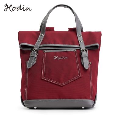 【Hodin】Daily直筒牛仔帆布後背包(紅色151039RD)