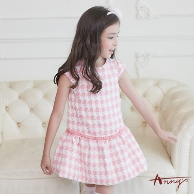 Annys安妮公主-精緻千鳥格紋秋冬款花苞裙襬洋裝*8614粉紅
