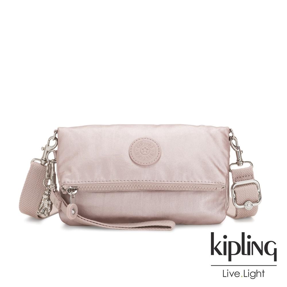 Kipling 嬌柔玫瑰金色多功能可調節斜肩背包-LYNNE