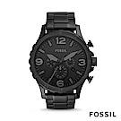 FOSSIL Nate 不鏽鋼計時男錶-黑色