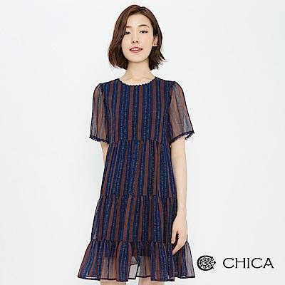 CHICA 文青書房小碎花拼接蛋糕洋裝(2色)