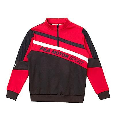 FILA KIDS 刷毛立領上衣-紅 1TES-8430-RD