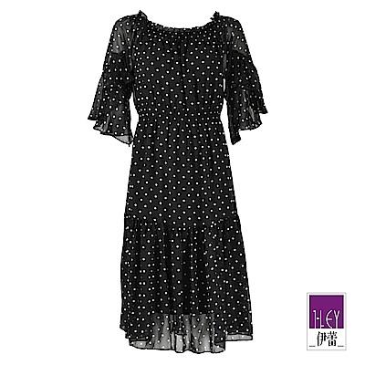 ILEY伊蕾 圓點造型兩穿式透膚雪紡洋裝(黑)