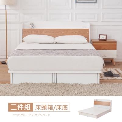 時尚屋 芬蘭5尺床箱型抽屜式雙人床(不含床頭櫃-床墊)