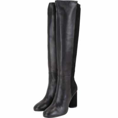 Stuart Weitzman ELOISE 95 拼接皮革粗跟及膝長靴(黑色)