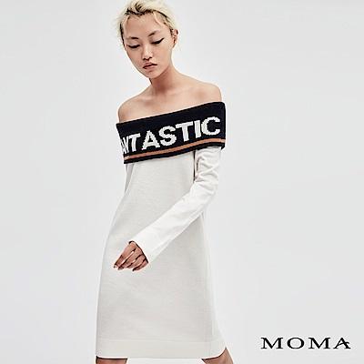 MOMA 一字領字母針織洋裝