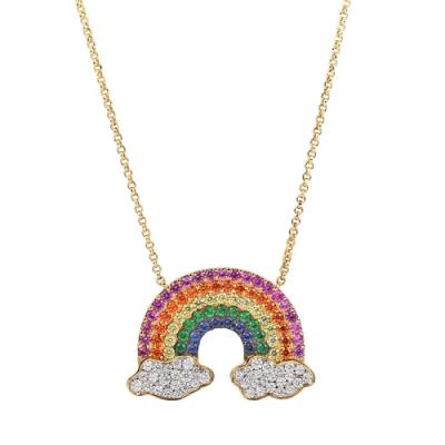 apm MONACO法國精品珠寶 閃耀金色鑲鋯寶石彩虹可調整長項鍊