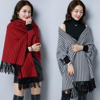 La Belleza兩穿千鳥格質感手袖流蘇針織毛料網美披肩式外套