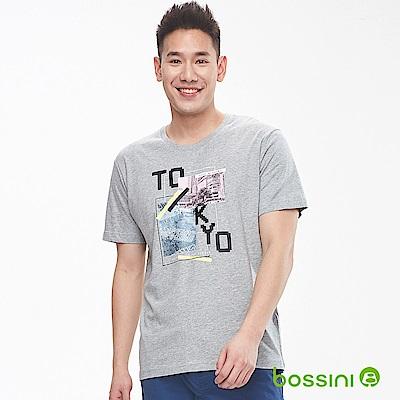 bossini男裝-印花短袖T恤05淺灰