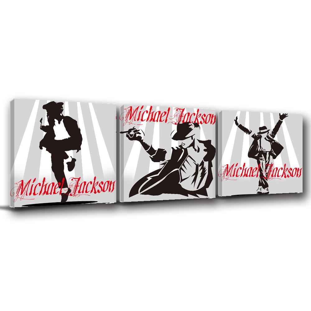 123點點貼 三聯式 無框畫壁貼牆貼-麥可傑克森30x30cm