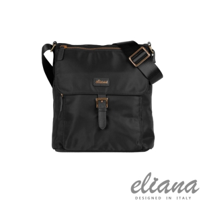 eliana - BREEZE系列輕量蓋面斜背包- 摩登黑